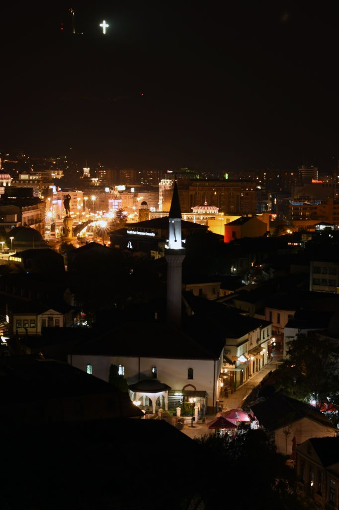 Skopje by night - Millennium Cross on Vodno Mountain in background