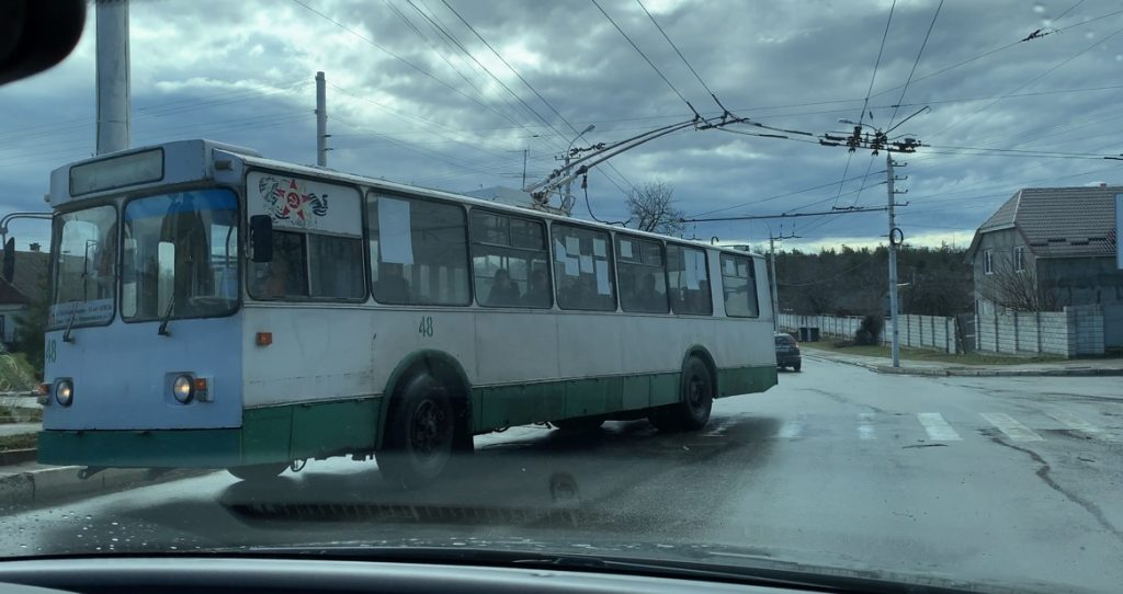Transnistrian bus with hammer and sickle logo
